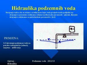 Hidraulika podzemnih voda Strujanje vode u tlu se
