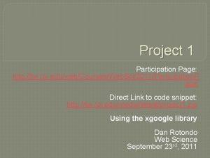 Project 1 Participation Page http tw rpi eduwebCoursesWeb
