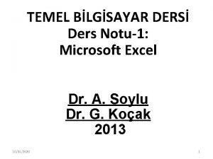 TEMEL BLGSAYAR DERS Ders Notu1 Microsoft Excel Dr