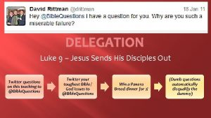 DELEGATION Luke 9 Jesus Sends His Disciples Out
