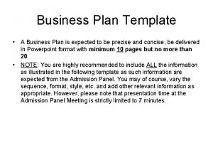 Business Plan Template A Business Plan is expected