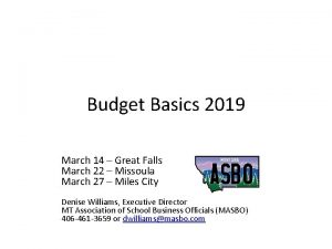 Budget Basics 2019 March 14 Great Falls March