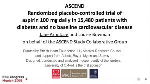 ASCEND Randomized placebocontrolled trial of aspirin 100 mg