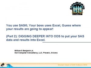 You use SAS Your boss uses Excel Guess