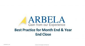 Best Practice for Month End Year End Close