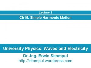 Lecture 2 Ch 15 Simple Harmonic Motion University