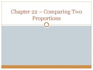 Chapter 22 Comparing Two Proportions Difference Between Proportions