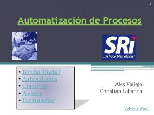 1 Automatizacin de Procesos Brecha Digital Antecedentes Objetivos