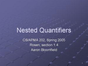 Nested Quantifiers CSAPMA 202 Spring 2005 Rosen section
