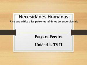 Necesidades Humanas Para una critica a los patrones