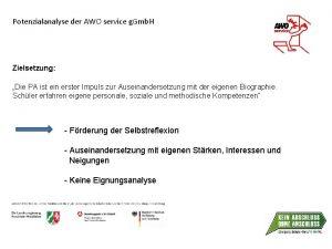 Potenzialanalyse der AWO service g Gmb H Zielsetzung
