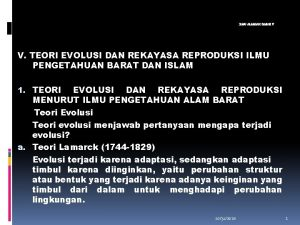 ILMU ALAMIAH DASAR V V TEORI EVOLUSI DAN
