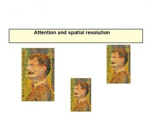 Attention and spatial resolution Spatial resolution Our ability