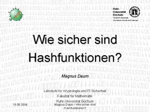 Ruhr Universitt Bochum Fakultt fr Mathematik Informationssicherheit und