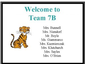 Welcome to Team 7 B Mrs Bunnell Mrs