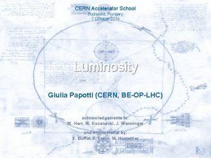 CERN Accelerator School Budapest Hungary 7 October 2016