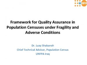 Framework for Quality Assurance in Population Censuses under