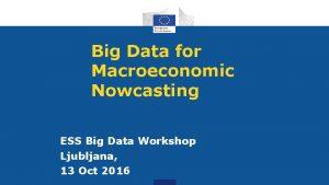 Big Data for Macroeconomic Nowcasting ESS Big Data