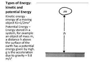 Types of Energy kinetic and potential Energy Kinetic