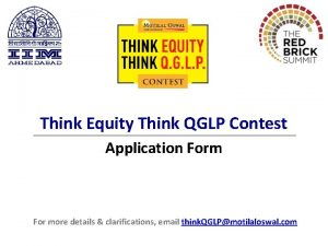 Think Equity Think QGLP Contest Application Form For
