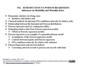 VII INTRODUCTION TO POISSON REGRESSION Inferences on Morbidity