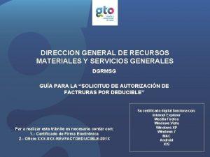 DIRECCION GENERAL DE RECURSOS MATERIALES Y SERVICIOS GENERALES