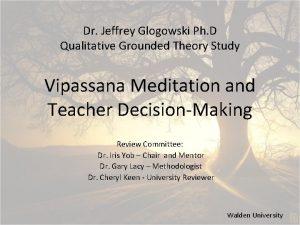 Dr Jeffrey Glogowski Ph D Qualitative Grounded Theory