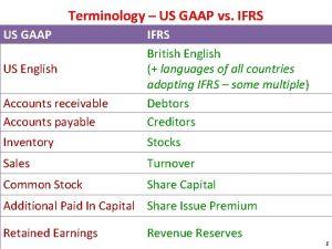 Terminology US GAAP vs IFRS US GAAP Accounts