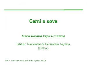 Carni e uova Maria Rosaria Pupo DAndrea Istituto