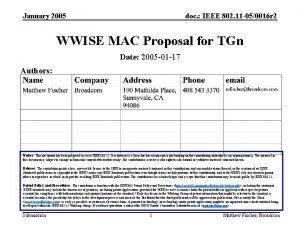 January 2005 doc IEEE 802 11 050016 r