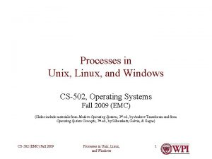 Processes in Unix Linux and Windows CS502 Operating