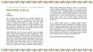 POSTER TITLE Author Institution This is sample poster