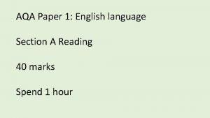 AQA Paper 1 English language Section A Reading
