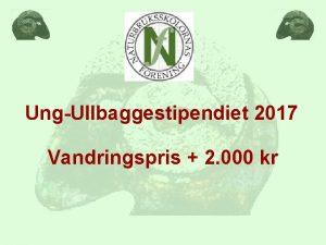 UngUllbaggestipendiet 2017 Vandringspris 2 000 kr Kriterier NBelever