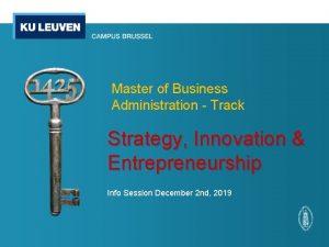 Master of Business Administration Track Strategy Innovation Entrepreneurship