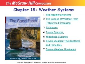 Chapter 15 Weather Systems 1 The Weather around