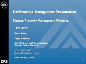 Performance Management Presentation Manage Property Management Finances Team