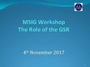 MSIG Workshop The Role of the GSR 4