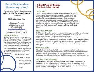 Berta Weathersbee Elementary School Parent and Family Engagement