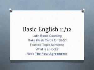 Basic English 1112 Latin Roots Counting Make Flash