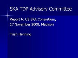 SKA TDP Advisory Committee Report to US SKA