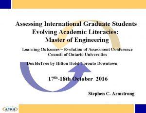 Assessing International Graduate Students Evolving Academic Literacies Master