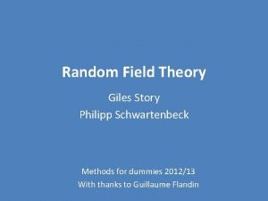 Random Field Theory Giles Story Philipp Schwartenbeck Methods