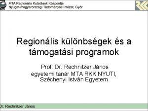 Regionlis klnbsgek s a tmogatsi programok Prof Dr