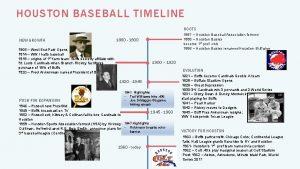 HOUSTON BASEBALL TIMELINE ROOTS NEW GROWTH 1887 Houston