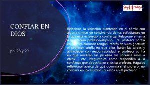 CONFIAR EN DIOS pp 28 y 29 Relacione