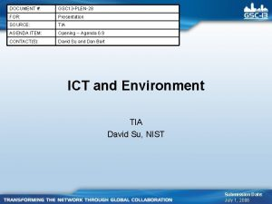 DOCUMENT GSC 13 PLEN28 FOR Presentation SOURCE TIA