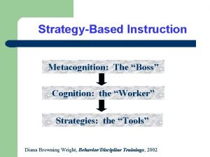 StrategyBased Instruction Metacognition The Boss Cognition the Worker