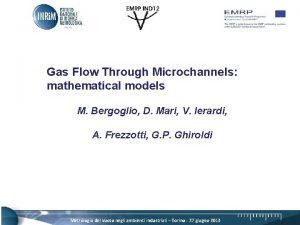 Gas Flow Through Microchannels mathematical models M Bergoglio