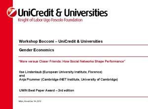 Workshop Bocconi Uni Credit Universities Gender Economics More